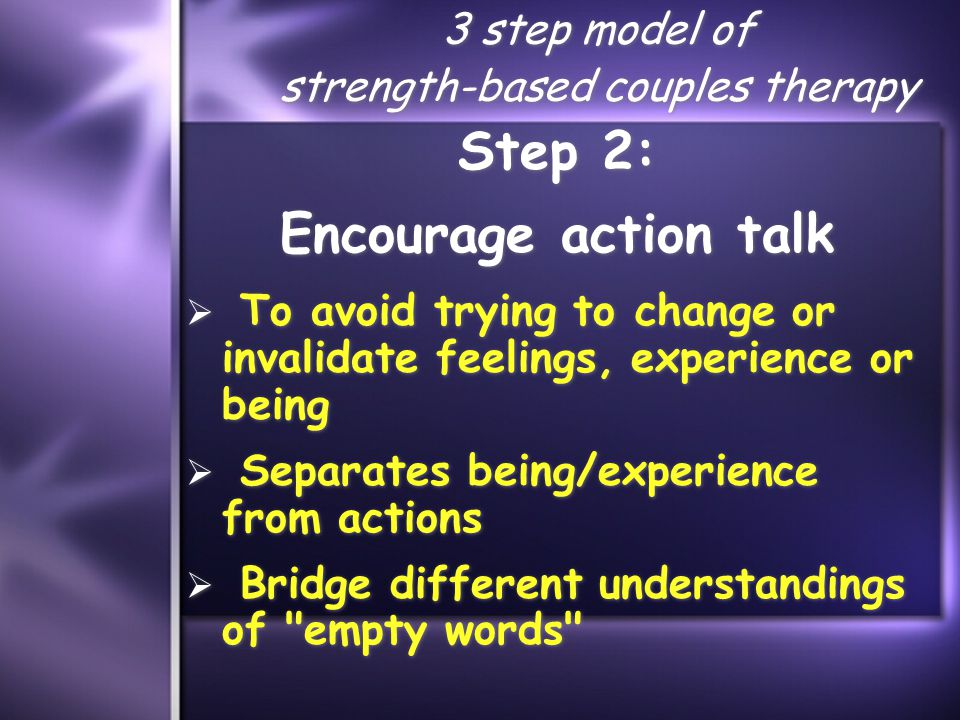 3 step model of strength-based couples therapy Step 2: Encourage action talk  To avoid trying to change or invalidate feelings, experience or being  Separates being/experience from actions  Bridge different understandings of empty words Step 2: Encourage action talk  To avoid trying to change or invalidate feelings, experience or being  Separates being/experience from actions  Bridge different understandings of empty words
