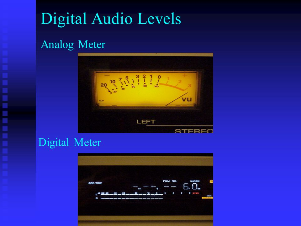 Digital Audio Levels Analog Meter Digital Meter