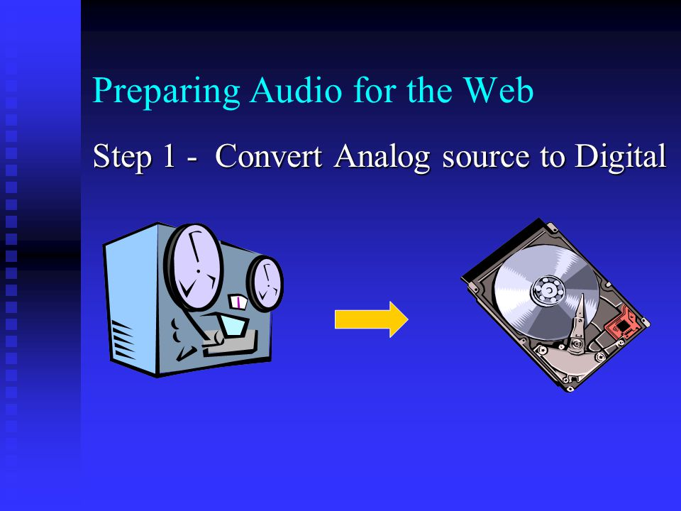Preparing Audio for the Web Step 1 - Convert Analog source to Digital