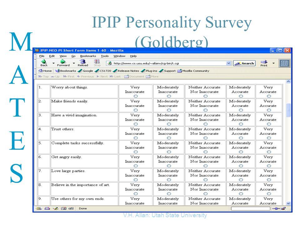 MATESMATES V.H. Allan: Utah State University 3 IPIP Personality Survey (Goldberg)