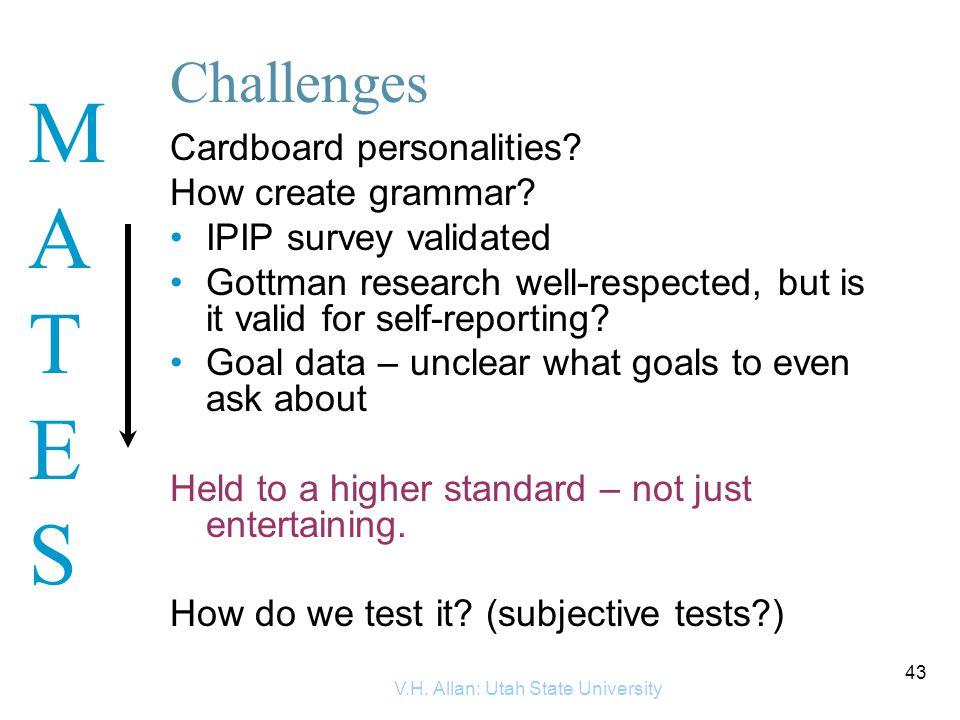 MATESMATES V.H.Allan: Utah State University 43 Challenges Cardboard personalities.