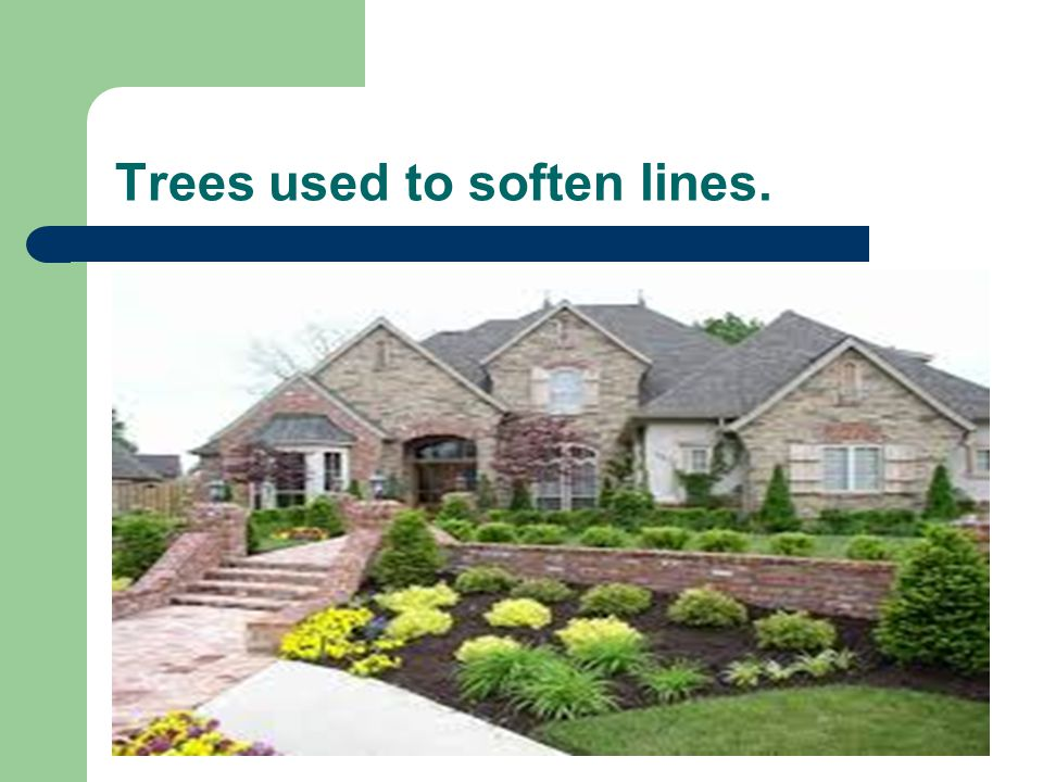 Trees used to soften lines.