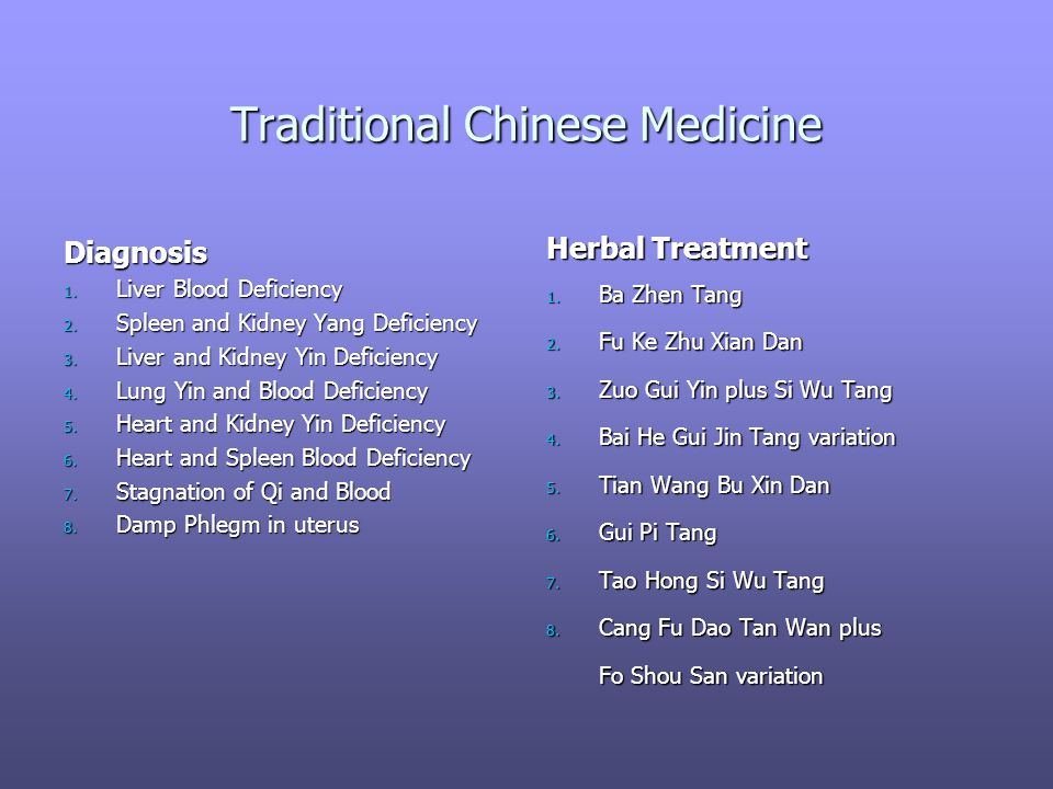 Traditional Chinese Medicine Diagnosis 1. Liver Blood Deficiency 2. Spleen and Kidney Yang Deficiency 3. Liver and Kidney Yin Deficiency 4. Lung Yin a