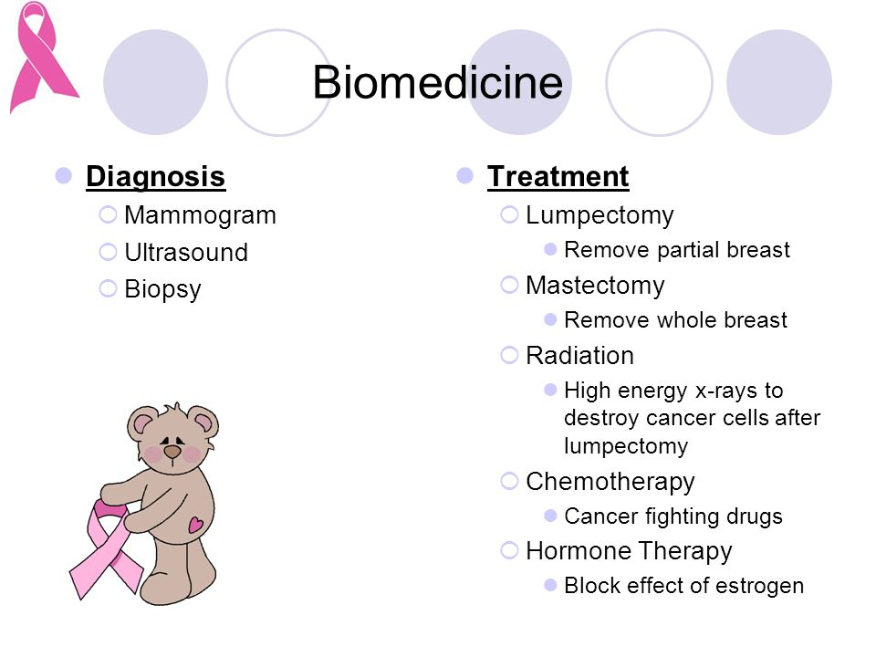 Biomedicine Diagnosis  Mammogram  Ultrasound  Biopsy Treatment  Lumpectomy Remove partial breast  Mastectomy Remove whole breast  Radiation High energy x-rays to destroy cancer cells after lumpectomy  Chemotherapy Cancer fighting drugs  Hormone Therapy Block effect of estrogen