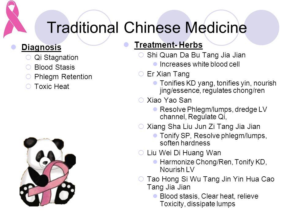 Traditional Chinese Medicine Diagnosis  Qi Stagnation  Blood Stasis  Phlegm Retention  Toxic Heat Treatment- Herbs  Shi Quan Da Bu Tang Jia Jian Increases white blood cell  Er Xian Tang Tonifies KD yang, tonifies yin, nourish jing/essence, regulates chong/ren  Xiao Yao San Resolve Phlegm/lumps, dredge LV channel, Regulate Qi,  Xiang Sha Liu Jun Zi Tang Jia Jian Tonify SP, Resolve phlegm/lumps, soften hardness  Liu Wei Di Huang Wan Harmonize Chong/Ren, Tonify KD, Nourish LV  Tao Hong Si Wu Tang Jin Yin Hua Cao Tang Jia Jian Blood stasis, Clear heat, relieve Toxicity, dissipate lumps
