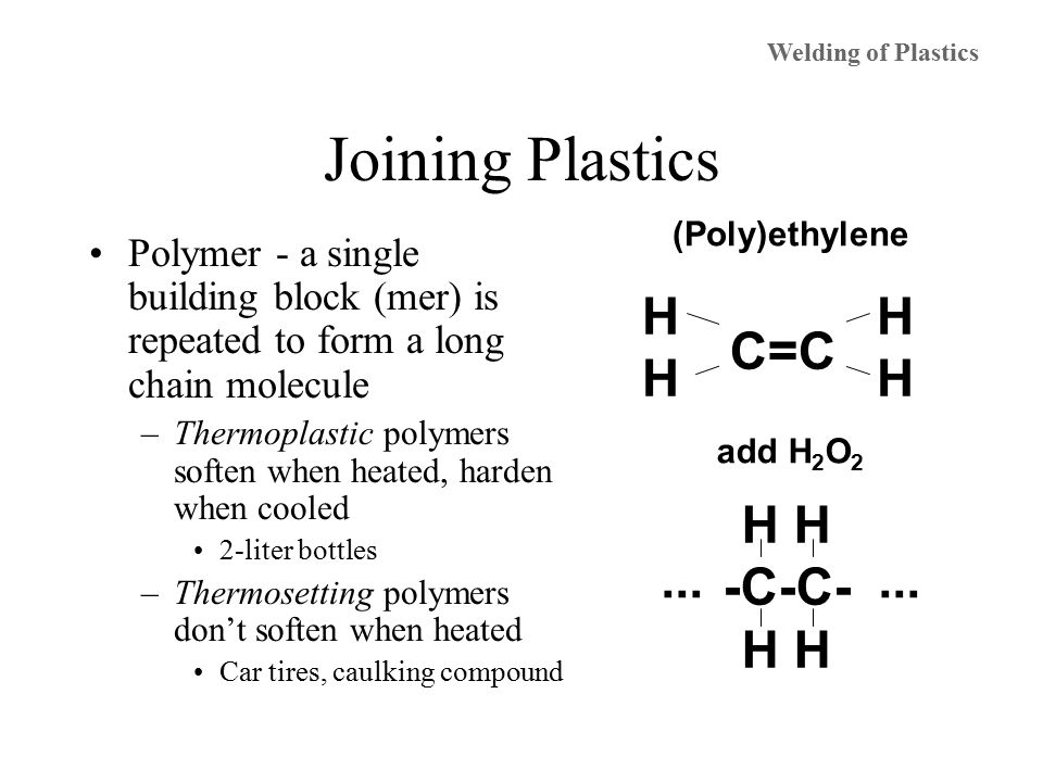 Joining Plastics Polymer - a single building block (mer) is repeated to form a long chain molecule –Thermoplastic polymers soften when heated, harden when cooled 2-liter bottles –Thermosetting polymers don't soften when heated Car tires, caulking compound HHHH HHHH C=C H -C-C- H ··· add H 2 O 2 (Poly)ethylene Welding of Plastics