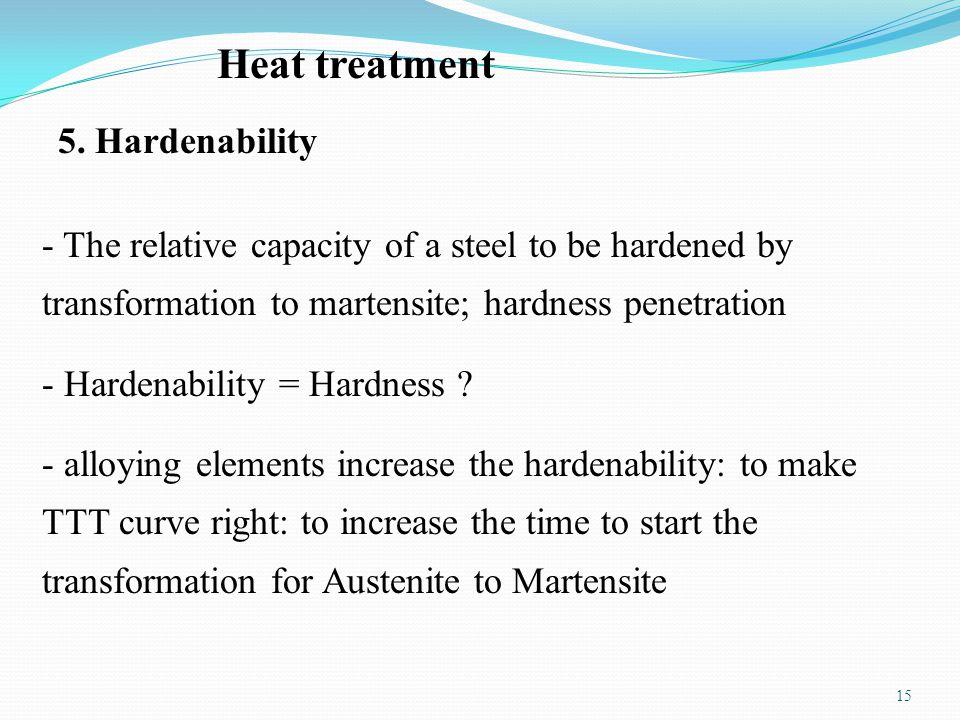 15 Heat treatment 5. Hardenability - The relative capacity of a steel to be hardened by transformation to martensite; hardness penetration - Hardenabi