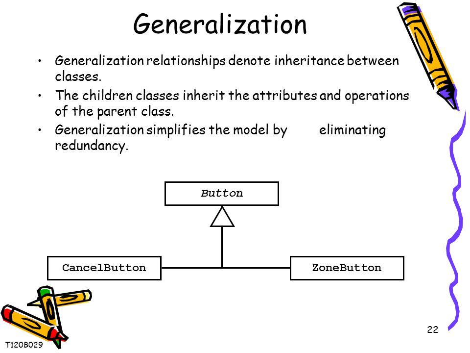 22 Generalization Generalization relationships denote inheritance between classes. The children classes inherit the attributes and operations of the p