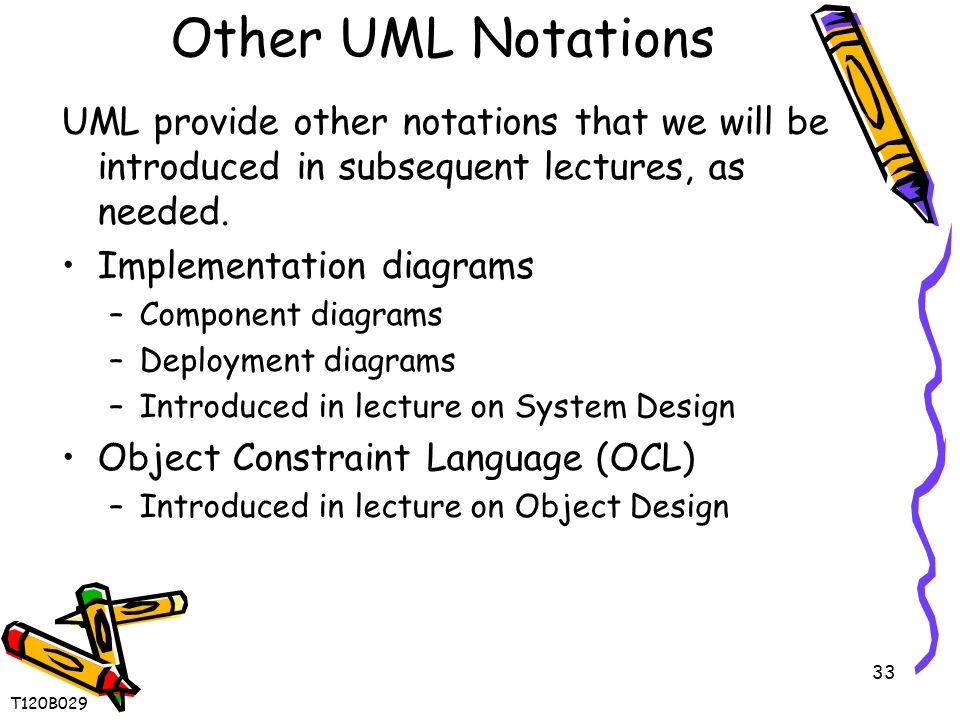 33 Other UML Notations UML provide other notations that we will be introduced in subsequent lectures, as needed. Implementation diagrams –Component di