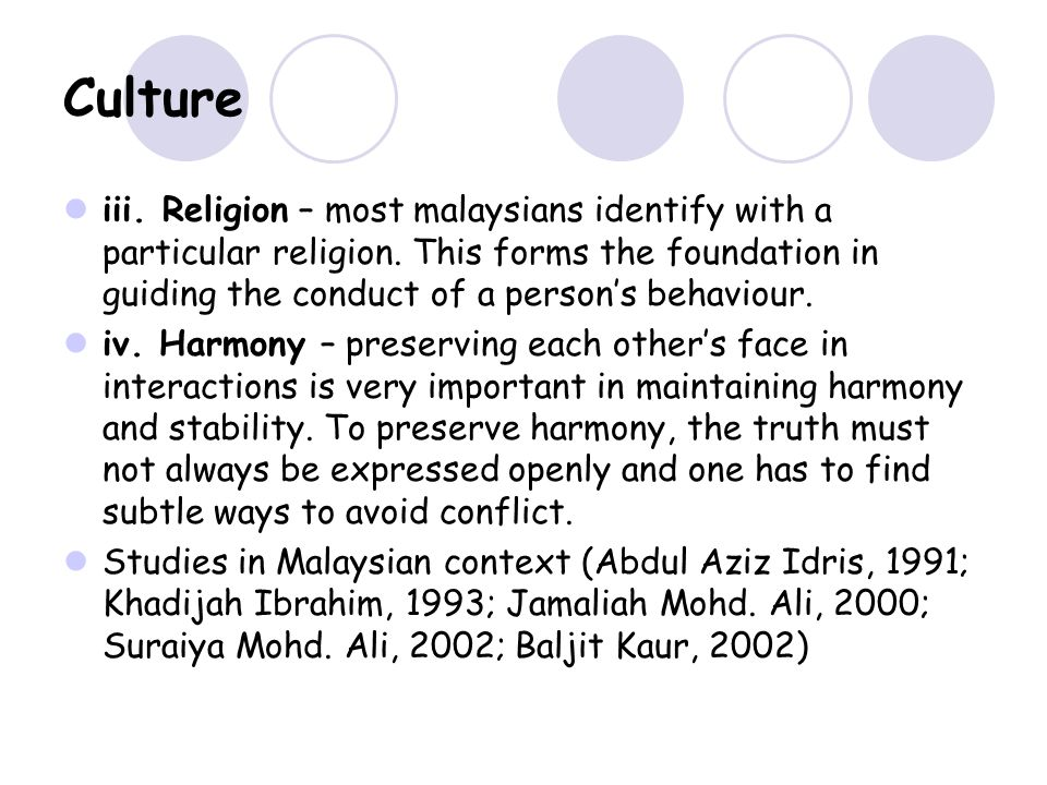 Culture iii. Religion – most malaysians identify with a particular religion.