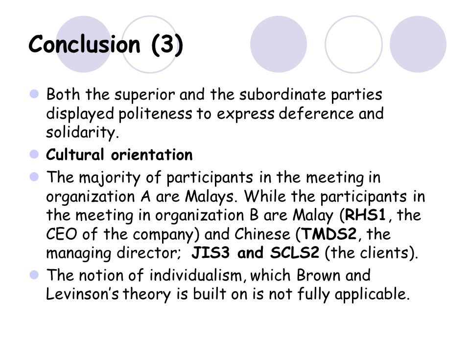 Conclusion (3) Both the superior and the subordinate parties displayed politeness to express deference and solidarity.