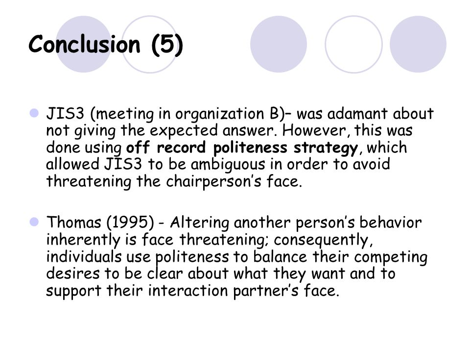 Conclusion (5) JIS3 (meeting in organization B)– was adamant about not giving the expected answer.