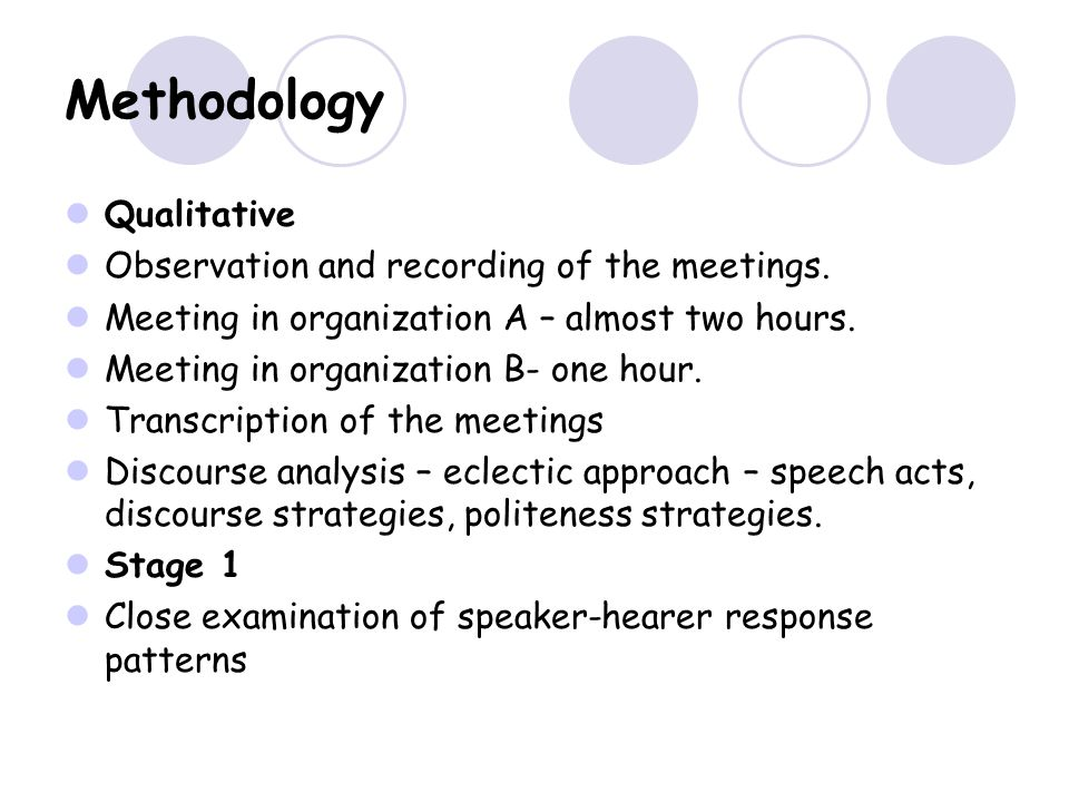 Methodology Qualitative Observation and recording of the meetings.