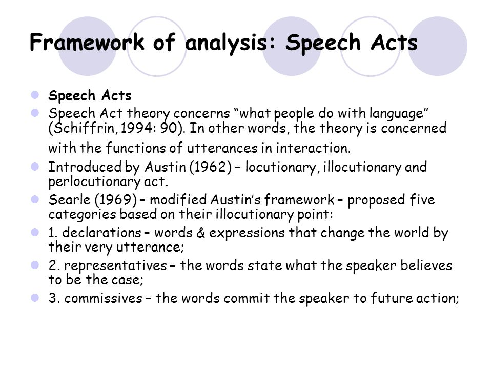 Framework of analysis: Speech Acts Speech Acts Speech Act theory concerns what people do with language (Schiffrin, 1994: 90).