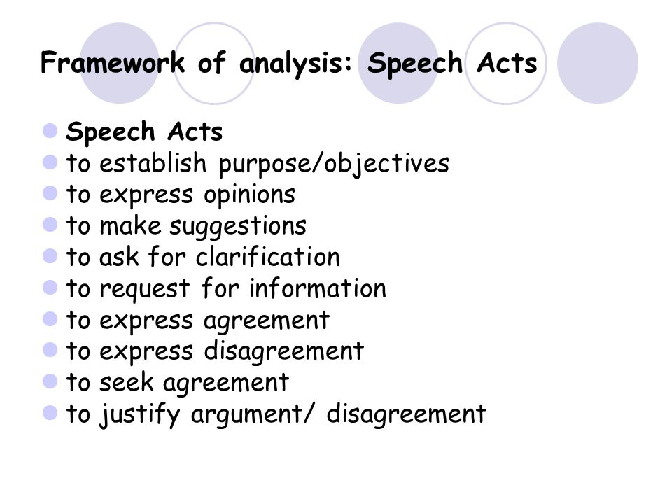 Framework of analysis: Speech Acts Speech Acts to establish purpose/objectives to express opinions to make suggestions to ask for clarification to request for information to express agreement to express disagreement to seek agreement to justify argument/ disagreement