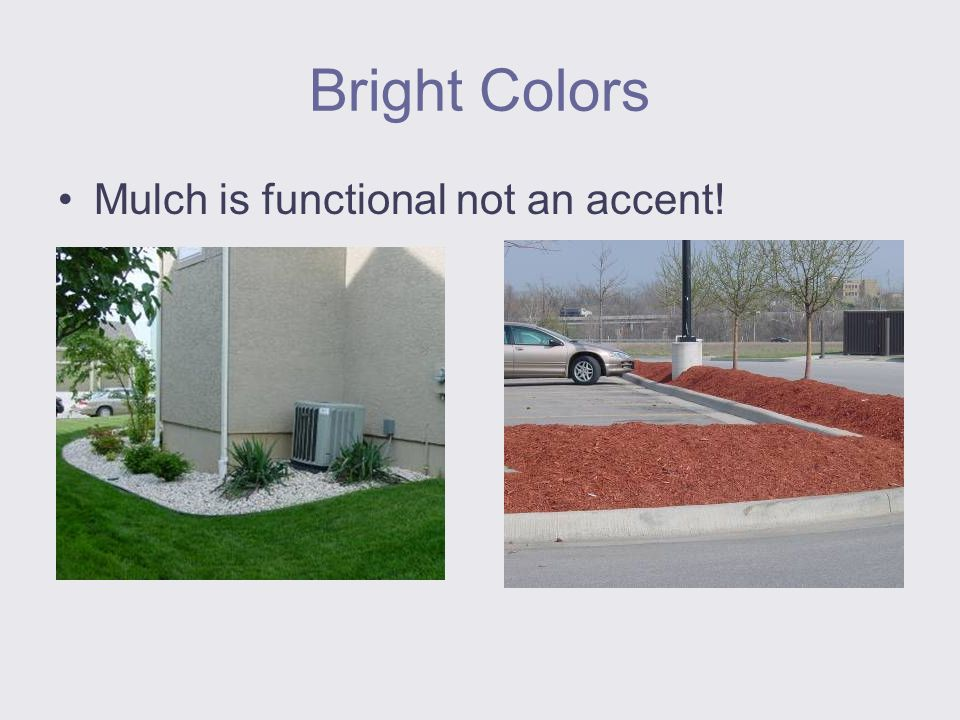 Bright Colors Mulch is functional not an accent!