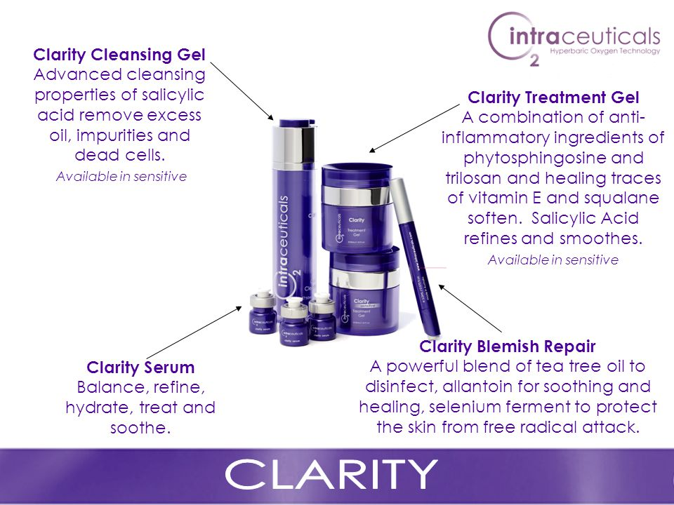 Clarity Cleansing Gel Advanced cleansing properties of salicylic acid remove excess oil, impurities and dead cells.