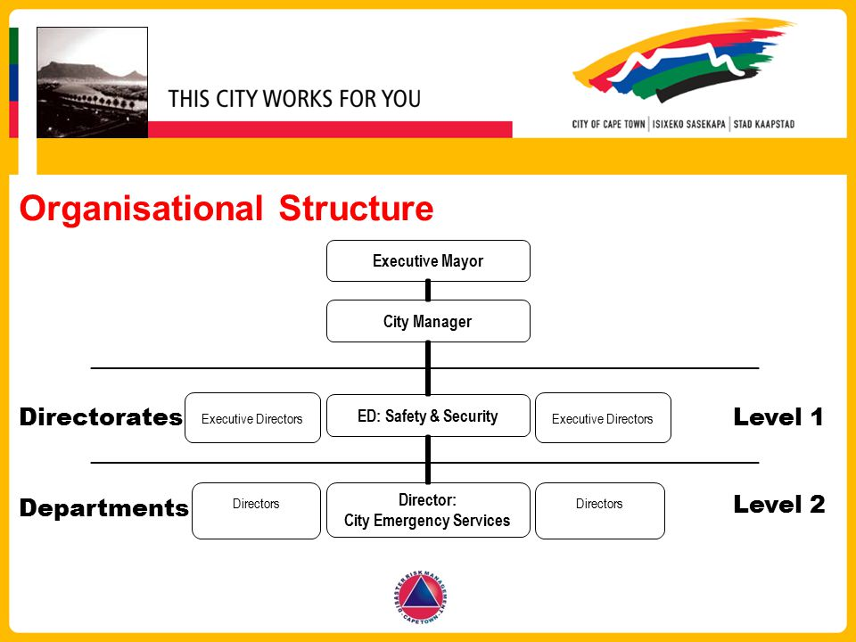 Organisational Structure ED: Safety & Security Directors City Manager Executive Directors Executive Mayor Directors Level 1 Level 2 Directorates Depar