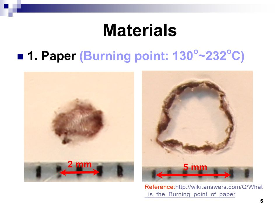 6 Inflammable materials Paper A thin piece of material left on the ball Greatly heated Burned O2O2 Greatly heated Burned O2O2