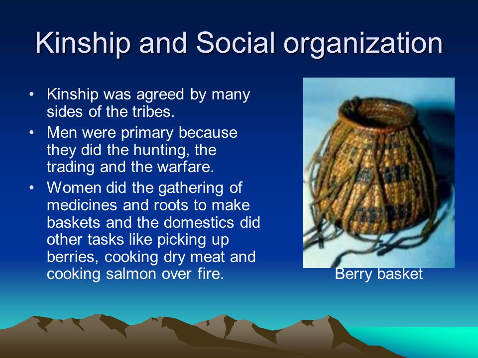 Kinship and Social organization Kinship was agreed by many sides of the tribes.