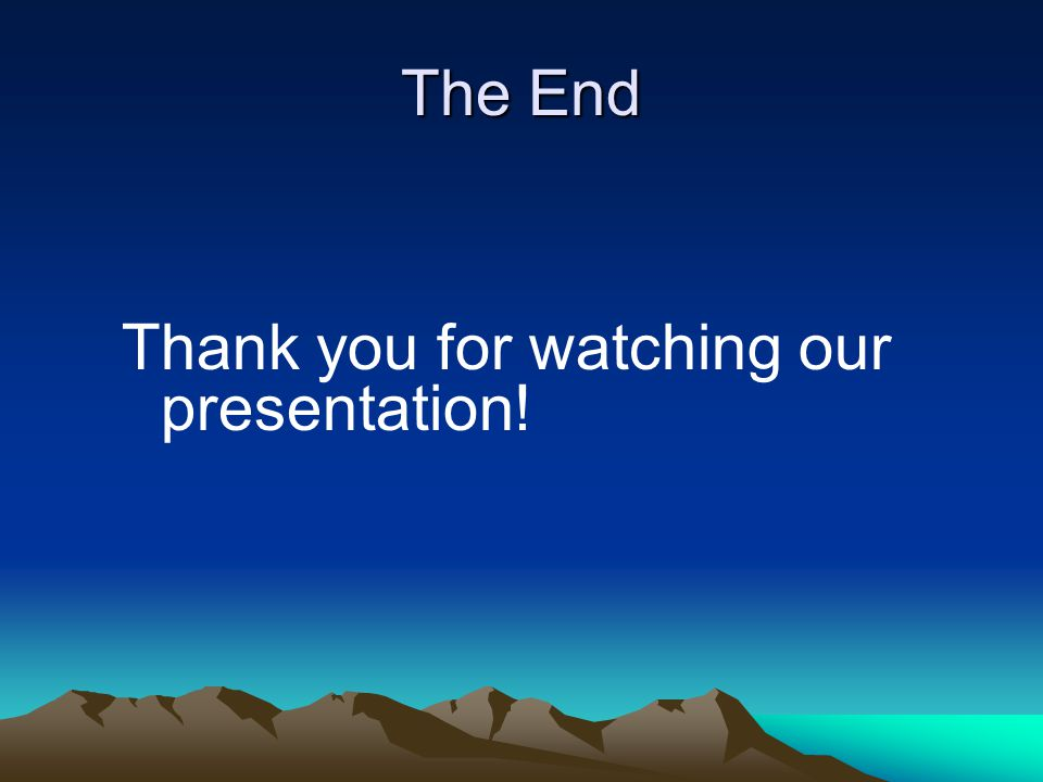 The End Thank you for watching our presentation!