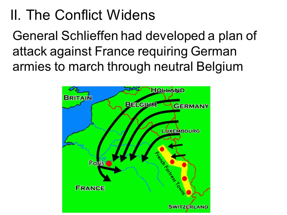 II. The Conflict Widens General Schlieffen had developed a plan of attack against France requiring German armies to march through neutral Belgium