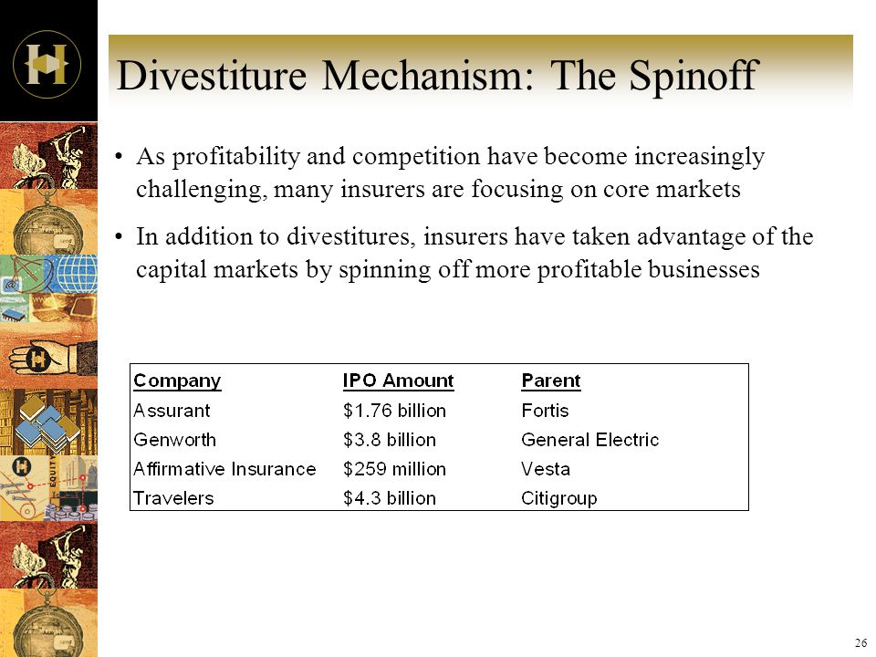 26 Divestiture Mechanism: The Spinoff As profitability and competition have become increasingly challenging, many insurers are focusing on core markets In addition to divestitures, insurers have taken advantage of the capital markets by spinning off more profitable businesses