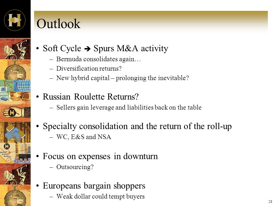 28 Outlook Soft Cycle  Spurs M&A activity –Bermuda consolidates again… –Diversification returns.