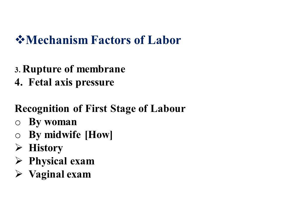  Mechanism Factors of Labor 3.Rupture of membrane 4.