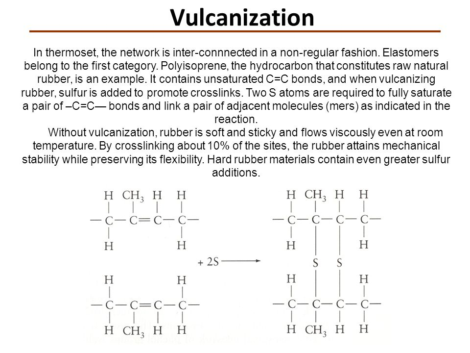 Vulcanization In thermoset, the network is inter-connnected in a non-regular fashion. Elastomers belong to the first category. Polyisoprene, the hydro
