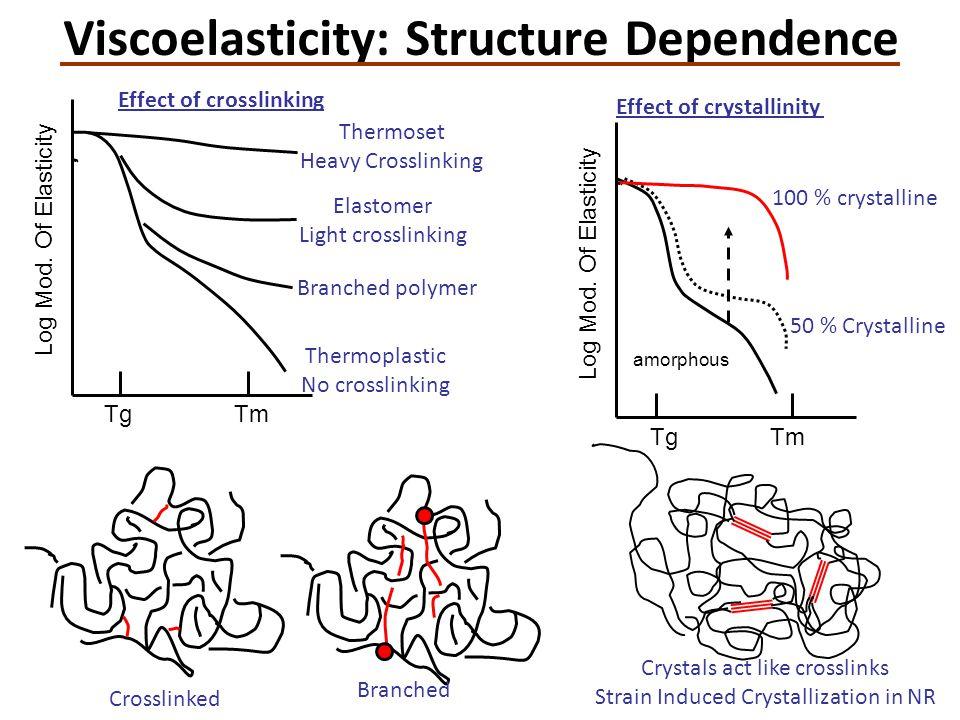Crosslinked Branched Effect of crosslinking Thermoset Heavy Crosslinking Elastomer Light crosslinking Effect of crystallinity TgTm Log Mod.