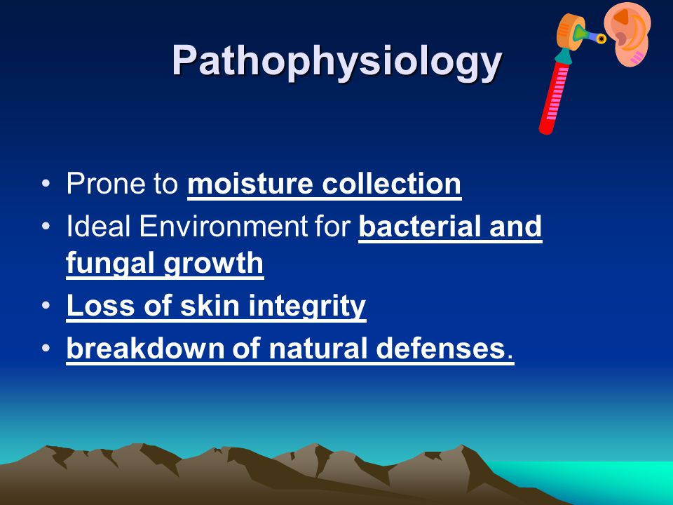 Pathophysiology Prone to moisture collection Ideal Environment for bacterial and fungal growth Loss of skin integrity breakdown of natural defenses.