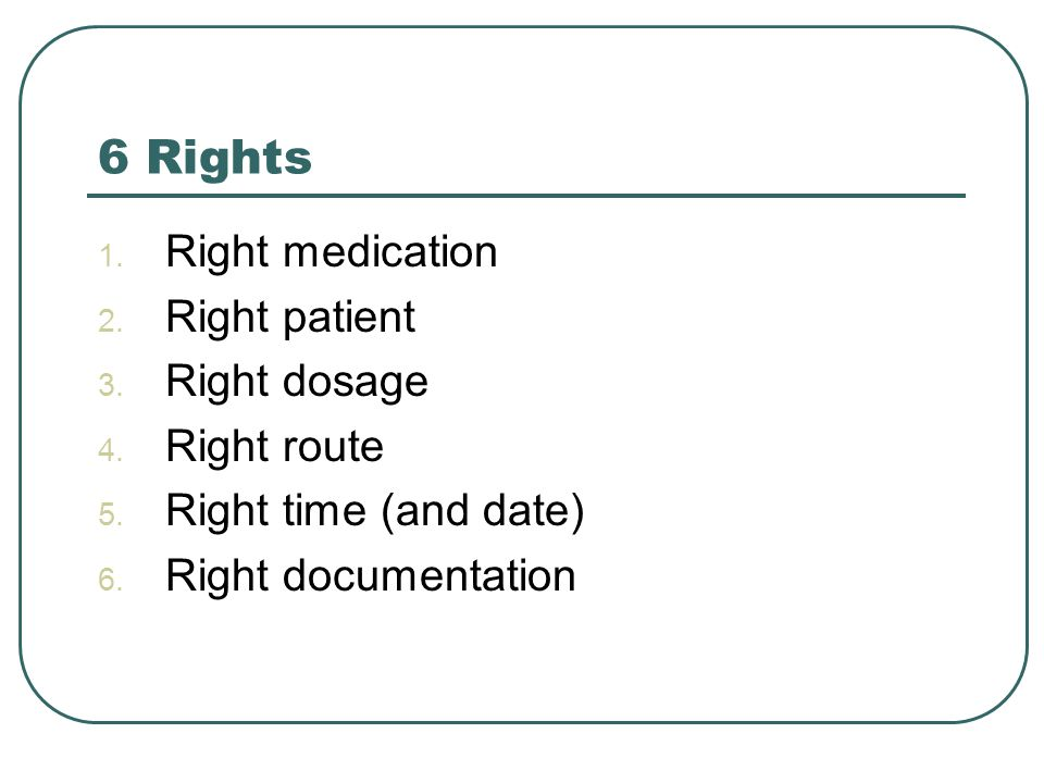 6 Rights 1. Right medication 2. Right patient 3.