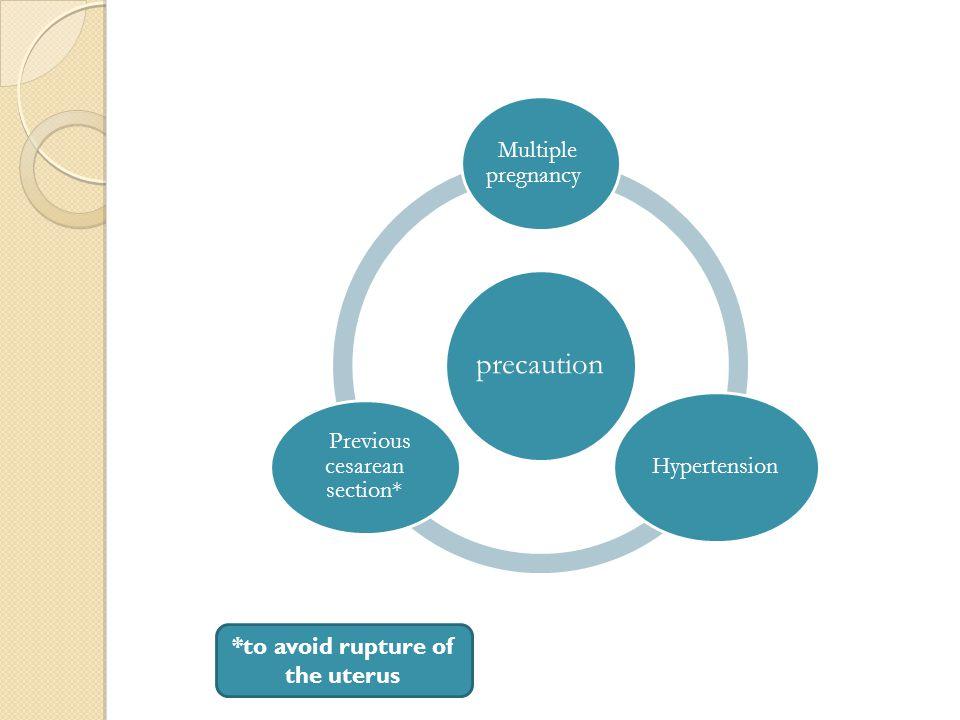 precaution Multiple pregnancy Hypertension Previous cesarean section* *to avoid rupture of the uterus