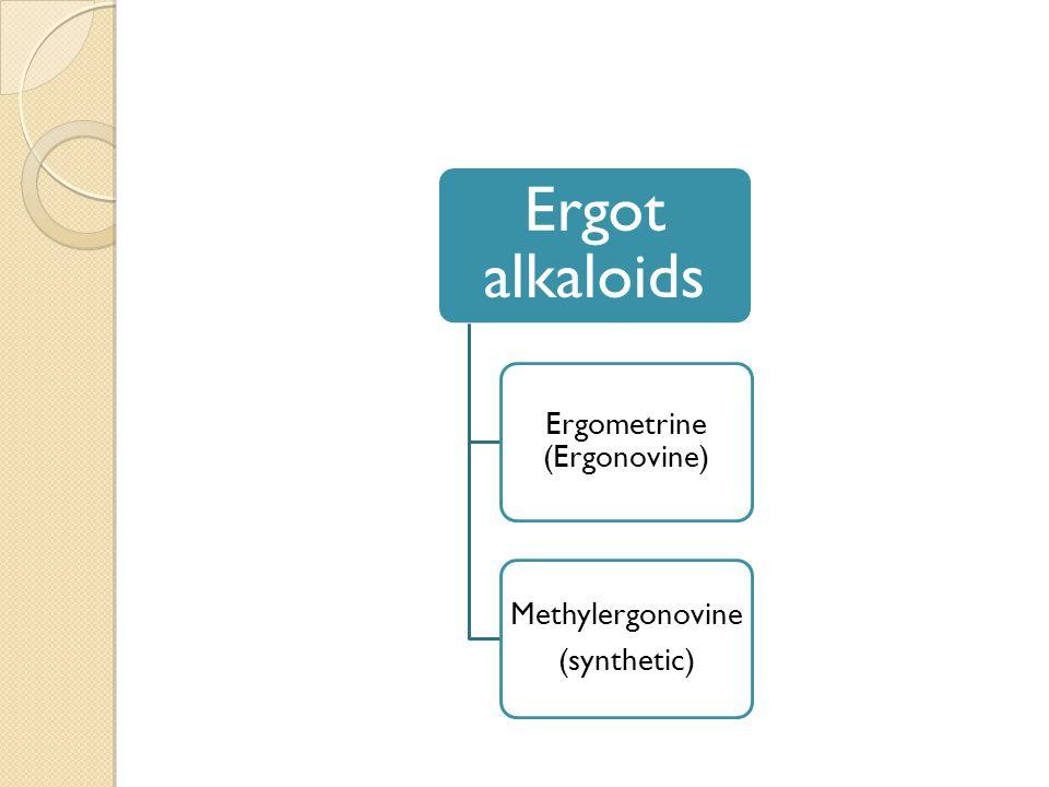 Ergot alkaloids Ergometrine (Ergonovine) Methylergonovine (synthetic)