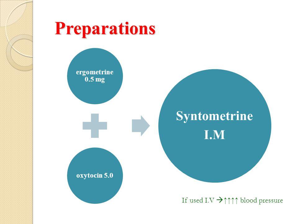 Preparations Preparations ergometrine 0.5 mg oxytocin 5.0 Syntometrine I.M If used I.V  ↑↑↑↑ blood pressure