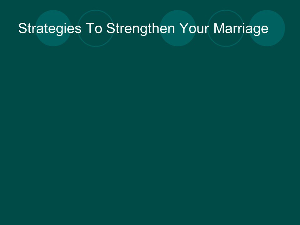 Strategies To Strengthen Your Marriage