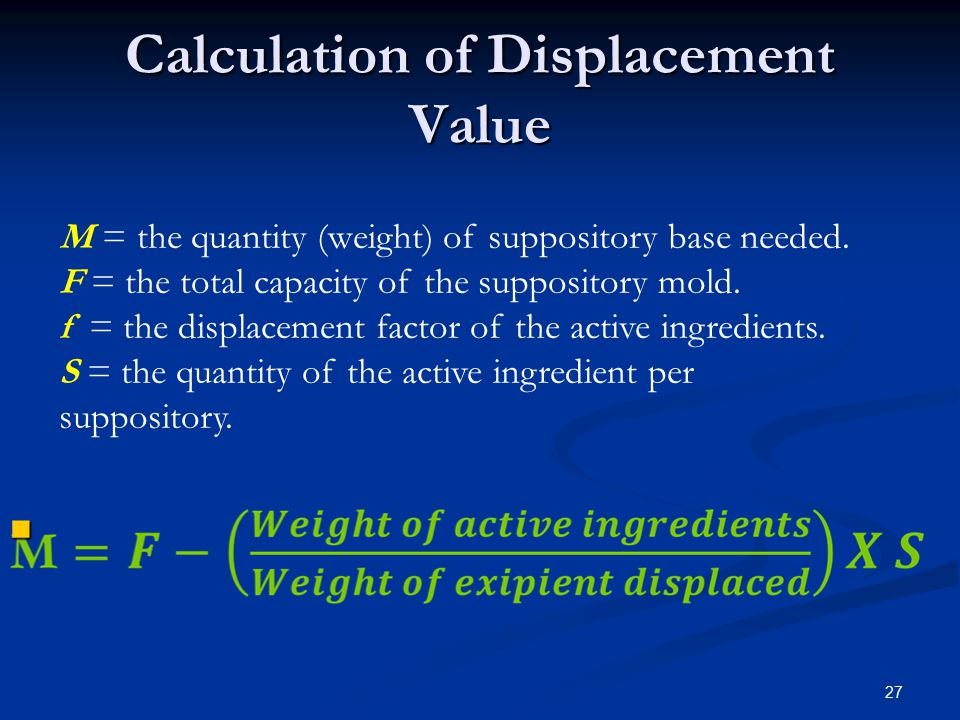 Displacement Value The volume of a suppository from a particular mould is uniform.