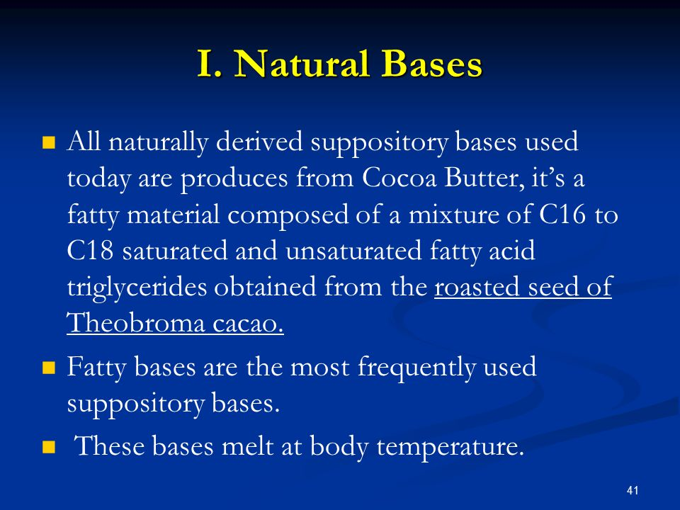   In addition to cocoa butter, other natural materials such as:   Gelatin, Agar, and Waxes have been employed as suppository bases.