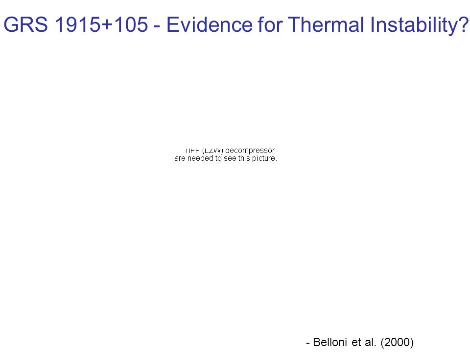 - Belloni et al. (2000) GRS 1915+105 - Evidence for Thermal Instability
