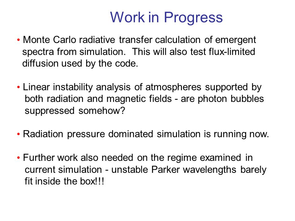 Work in Progress Monte Carlo radiative transfer calculation of emergent spectra from simulation.
