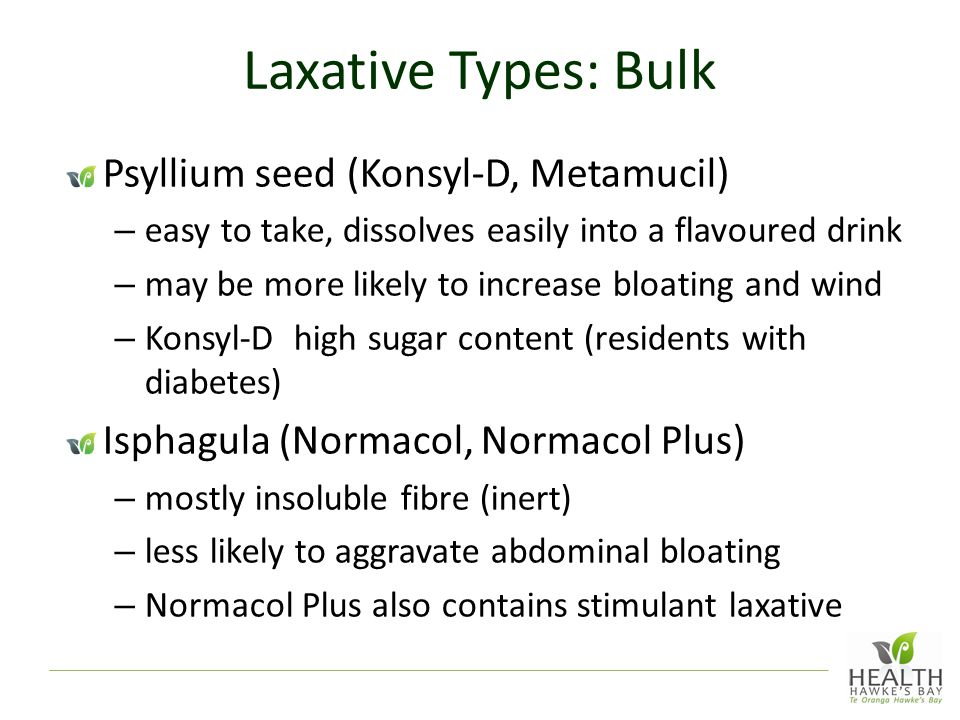 Laxative Types: Bulk Psyllium seed (Konsyl-D, Metamucil) – easy to take, dissolves easily into a flavoured drink – may be more likely to increase bloating and wind – Konsyl-D high sugar content (residents with diabetes) Isphagula (Normacol, Normacol Plus) – mostly insoluble fibre (inert) – less likely to aggravate abdominal bloating – Normacol Plus also contains stimulant laxative