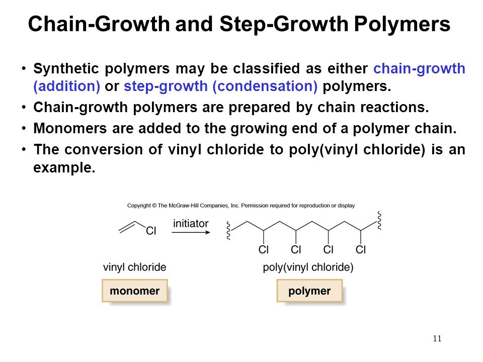11 Synthetic polymers may be classified as either chain-growth (addition) or step-growth (condensation) polymers. Chain-growth polymers are prepared b