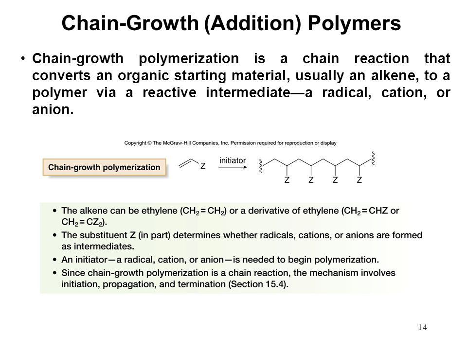 14 Chain-growth polymerization is a chain reaction that converts an organic starting material, usually an alkene, to a polymer via a reactive intermed