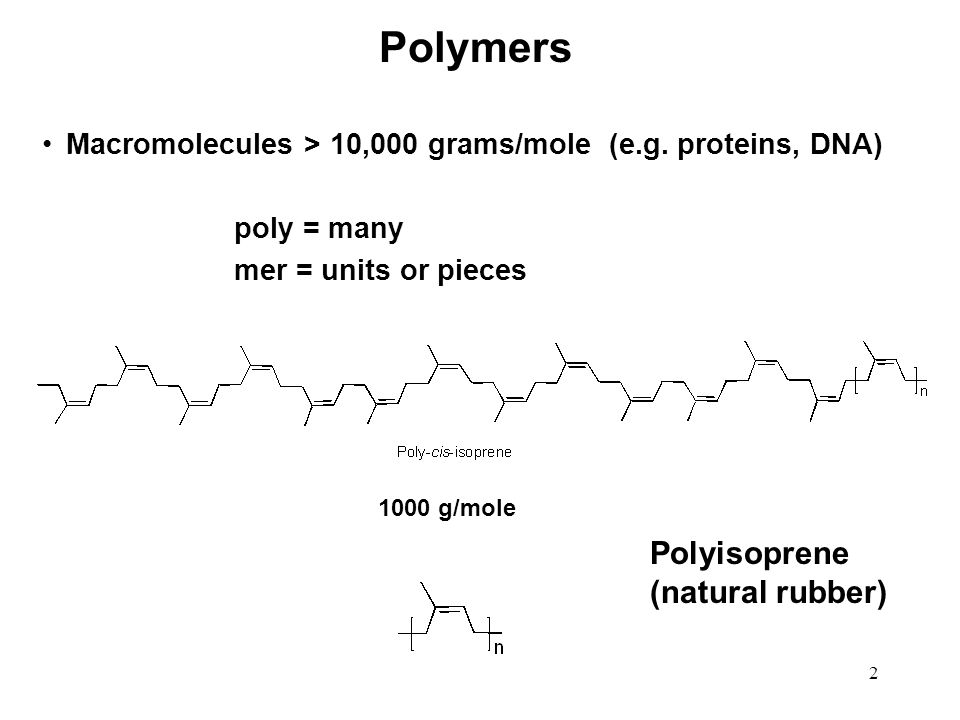 2 Polymers Macromolecules > 10,000 grams/mole (e.g. proteins, DNA) poly = many mer = units or pieces 1000 g/mole Polyisoprene (natural rubber)