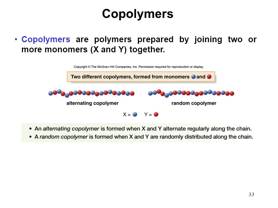 33 Copolymers are polymers prepared by joining two or more monomers (X and Y) together. Copolymers