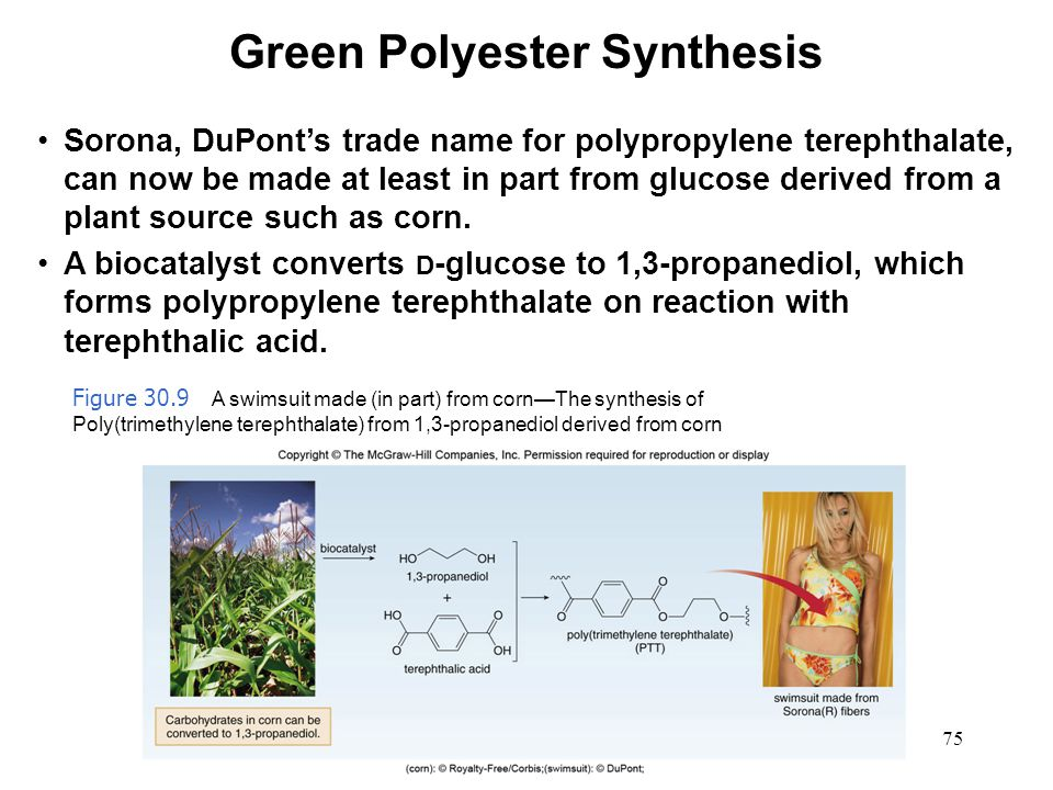 75 Sorona, DuPont's trade name for polypropylene terephthalate, can now be made at least in part from glucose derived from a plant source such as corn