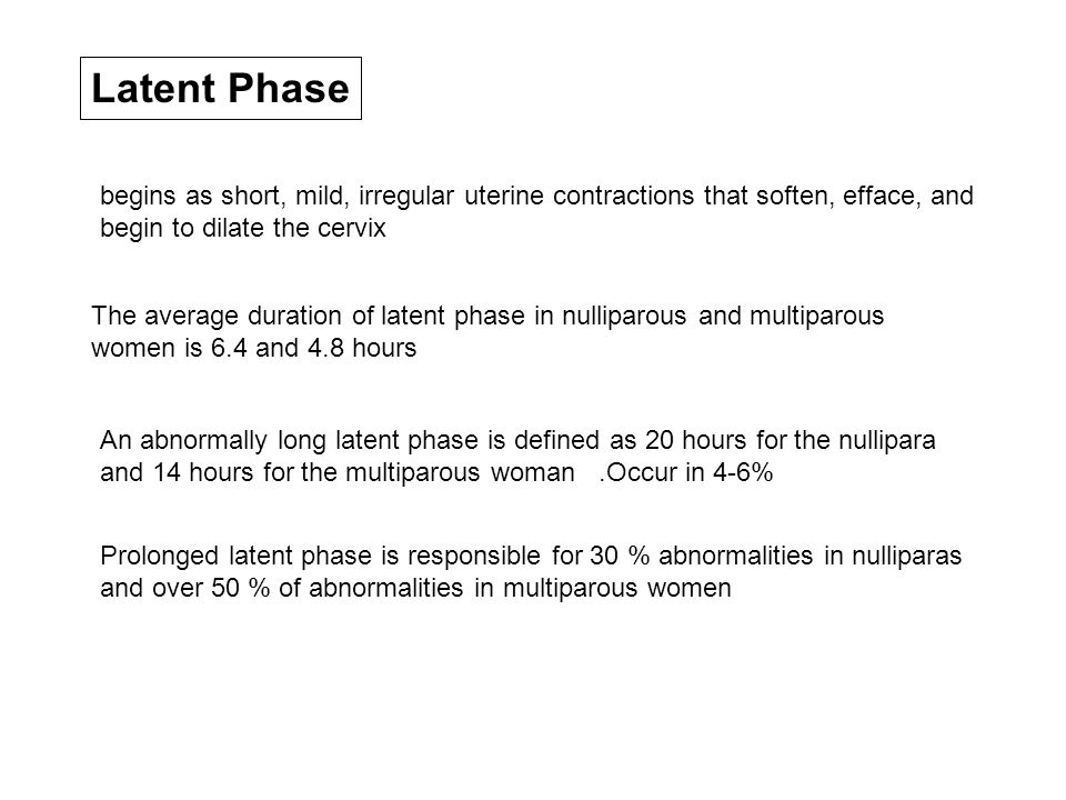Latent Phase The average duration of latent phase in nulliparous and multiparous women is 6.4 and 4.8 hours An abnormally long latent phase is defined