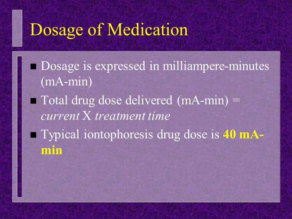 Dosage of Medication n Dosage is expressed in milliampere-minutes (mA-min) n Total drug dose delivered (mA-min) = current X treatment time n Typical i