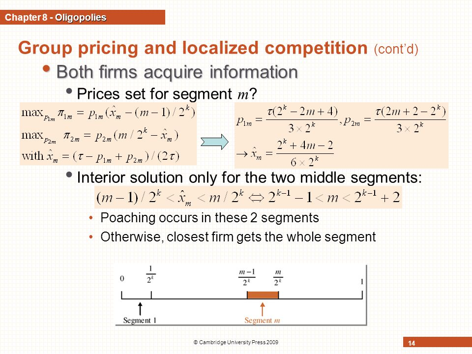 © Cambridge University Press 2009 14 Group pricing and localized competition (cont'd) Both firms acquire information Both firms acquire information Prices set for segment m .